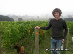 Bill Downie in his close-planted vineyard on a damp west Gippsland day