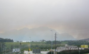 Bush fire smoke over Simonsberg in South Africa, 2009