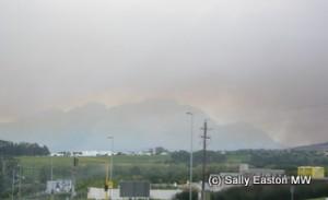Bush fire smoke over Simonsberg in South Africa, 2009